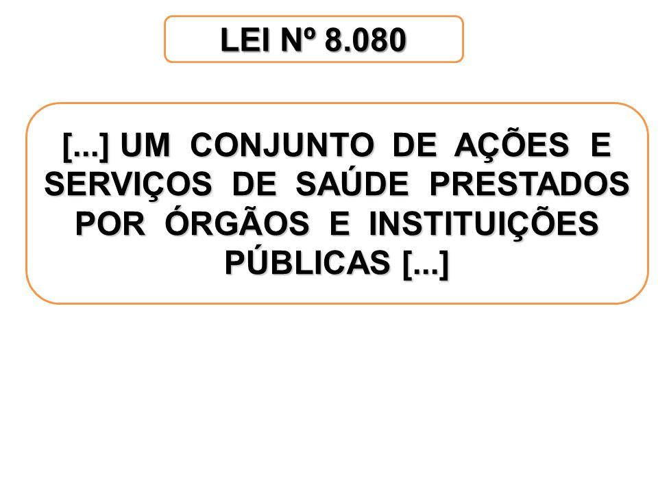 LEI Nº 8.080 [...] UM CONJUNTO DE AÇÕES E SERVIÇOS DE SAÚDE PRESTADOS POR ÓRGÃOS E INSTITUIÇÕES PÚBLICAS [...]
